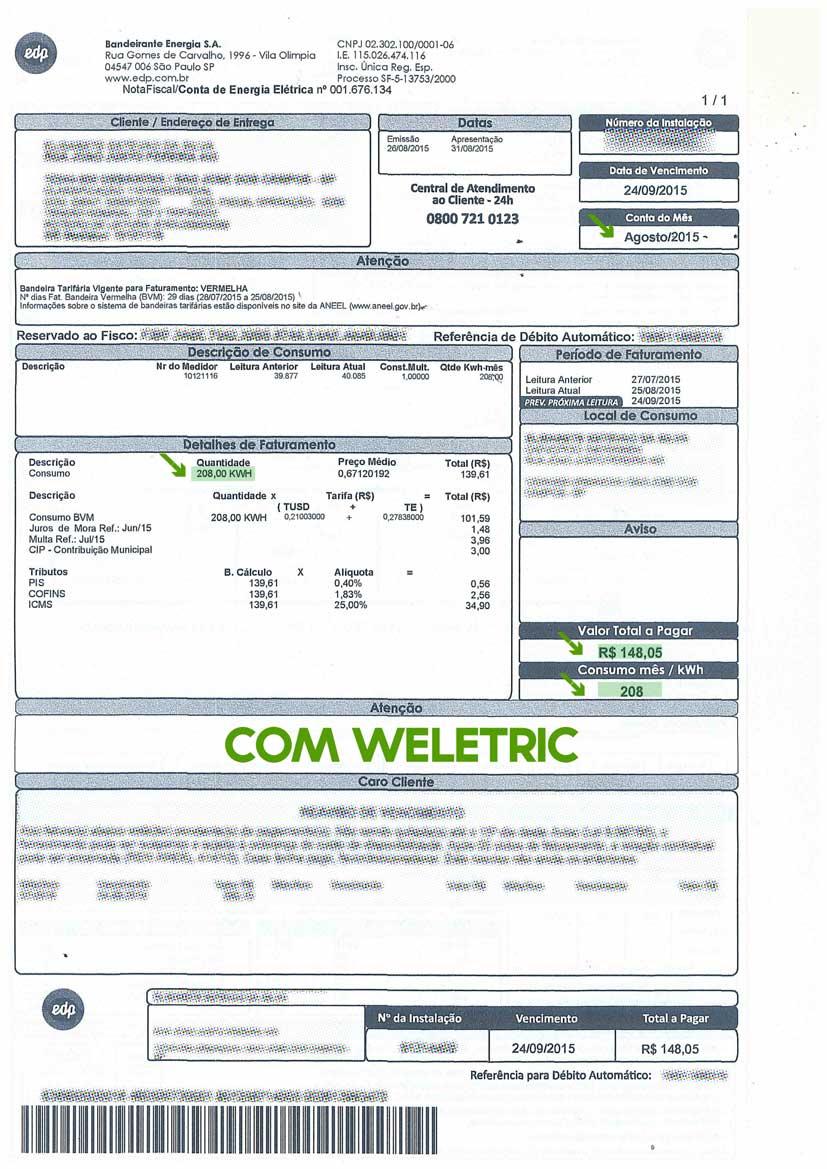 Conta verde WELETRIC